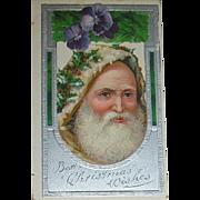 Wonderful Rare Santa Claus Face Designed Christmas Postcard