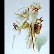 Rare Estonian Santa Claus Wearing All White Robe and Cap