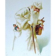 Rare Estonian Santa Claus Wearing All White Robe and Cap