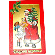 "Kathleen Gassaway Santa Claus ""Crimson and Gold Series"" Christmas Postcard  (1 of 4)  free shipping"