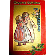 "Kathleen Gassaway Children ""Crimson and Gold Series"" Christmas Postcard (3 of 4)    free shipping"