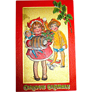 "Kathleen Gassaway Children ""Crimson and Gold Series"" Christmas Postcard (4 of 4)    free shipping"