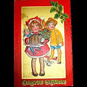 "Kathleen Gassaway Children ""Crimson and Gold Series"" Christmas Postcard (4 of 4)    free shipping"