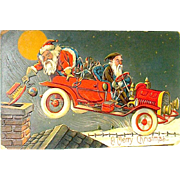 HTF German Postcard, Santa in Jalopy Driven by Frenzied Elf   free shipping