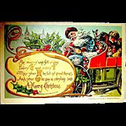 H.I. Robbins Christmas Postcard, Crazy Santa Claus Driver