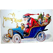 Vintage Christmas Postcard, Santa Claus, Pedal to the Metal Fast Driver