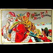 Scarce Julius Bien Santa Claus Chased by Children, 1908 Christmas Postcard