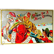 Scarce Julius Bien Santa Claus Chased by Children, 1908 Christmas Postcard