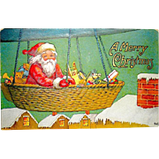 Antique Christmas Postcard, Santa Claus in Dirigible Basket