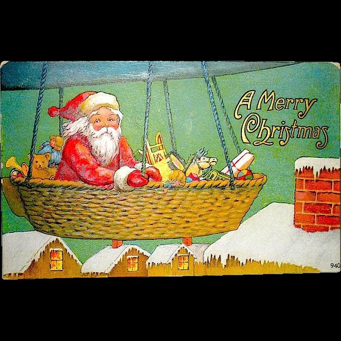 Antique christmas postcard santa claus in dirigible