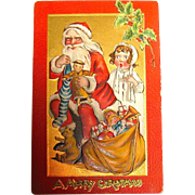 "Kathleen Gassaway Santa Claus ""Crimson and Gold Series"" Christmas Postcard  (1 of 3)  free shipping"