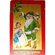 "Kathleen Gassaway Santa Claus ""Crimson and Gold Series"" Christmas Postcard  (3 of 3)  free shipping"