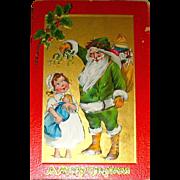"Kathleen Gassaway Santa Claus ""Crimson and Gold Series"" Christmas Postcard  (3 of 3)  free shipping"