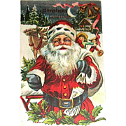Antique Christmas Postcard, Santa Claus Delivering Gifts on Christmas Eve