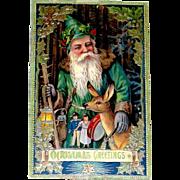 Beautiful Unused Santa Claus & Deer German GEL Gilt Postcard