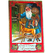 Beautiful Richly Colored Gilt Decorated Christmas Postcard—Santa Claus & Deer