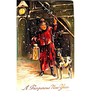 Rare German Postcard, Town Crier w Dog Announces New Year