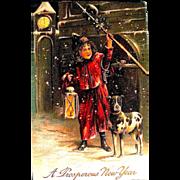 Rare German Postcard, Town Crier w Dog Announces New Year