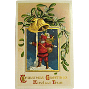 Clapsaddle IAP German Christmas Postcard, Santa Claus at North Pole