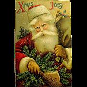 Great Early Santa Claus Image on German Christmas Postcard, Series 259