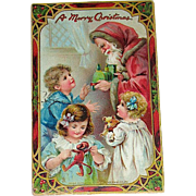 Santa Claus w Children Postcard Printed in Saxony for Tuck's Series 512