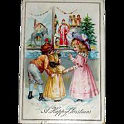 Rare 1905 Tuck Christmas Postcard, Children at Store Front Christmas Display