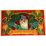Beautiful Highly Embossed Colorful Santa Claus Postcard—Gilt Details