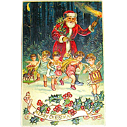 Superb Embossed Santa Claus w Child Angel Helpers German Christmas Postcard