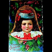 Unused German Christmas Postcard—Beautiful Child Inside Gold Bell Ornament