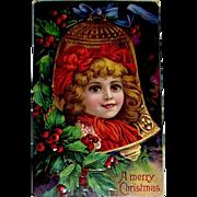 German Christmas Postcard—Beautiful Girl Inside Gold Bell Ornament