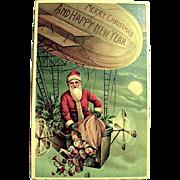 Scarce German Antique Christmas Postcard—Santa Claus in Dirigible Basket