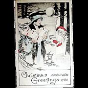 Kathryn Elliott Hand Colored Lady w Gnome Like Santa Claus Postcard