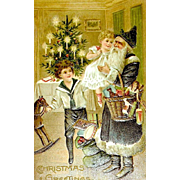 Superb Early Christmas Postcard w Santa Claus and Children