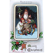 IAP Santa Claus Postcard with Children Happily Selecting Gifts