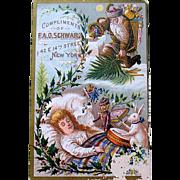 Rare F.A.O. Schwarz 1880 CHRISTMAS EXHIBITION Trade Card, Postcard Related