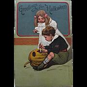 P.F.B. Halloween Postcard, Boy Carves JOL