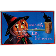 Rare GEL Halloween Postcard--JOL Witch Smoking a Pipe