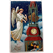 Gorgeous 1909 New Year Postcard—Angel Ringing Bells and Lady Sipping Wine
