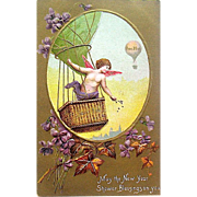 Antique Happy New Year Postcard—Angel, Hot Air Balloon