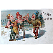 Elves Celebrate A Happy New Year—1907 Postcard