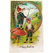 Pristine Antique New Year Postcard—Gnomes, Mountains and Magic Mushrooms