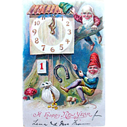 International Antique New Year Postcard—Gnomes, Clock, Good Luck Symbols