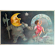 P.F.B. German New Year Postcard—Crescent Moon Man w Axe, Angel, Clock