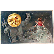 Full Face Moon Man and Angel New Year Postcard