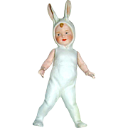 Rare Gebruder Heubach All Bisque Boy in Rabbit Costume Figurine