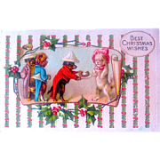 Adorable Humanistic Doggies— Delightful Fantasy Christmas Postcard