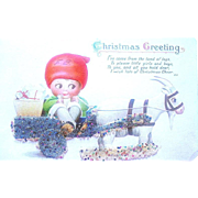 Adorable Goggly Eyed Boy Rides on a Fancy Goat Cart—Christmas Postcard