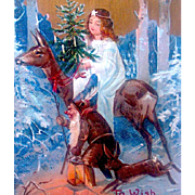 Rare Christmas Postcard, Angel Rides Deer Led by Forest Gnome