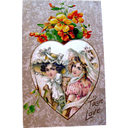 Beautiful Winsch 1910 Valentine Postcard, Satin Heart w Beautiful Ladies