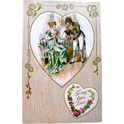 Beautiful Winsch Valentine Postcard—1700's Aristocrats Portrait on Silk Heart